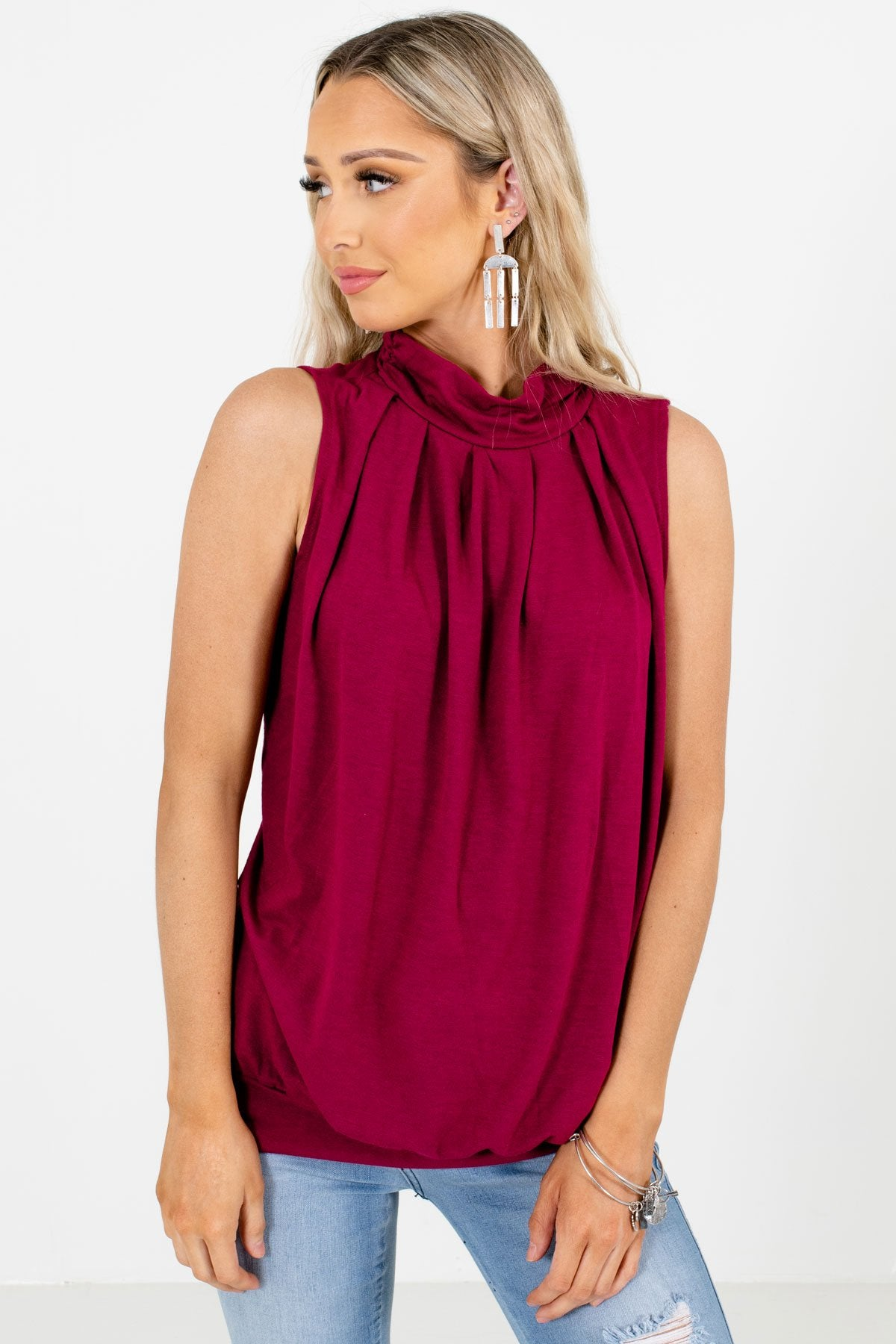 Wine Red Mock Neckline Boutique Tank Tops for Women