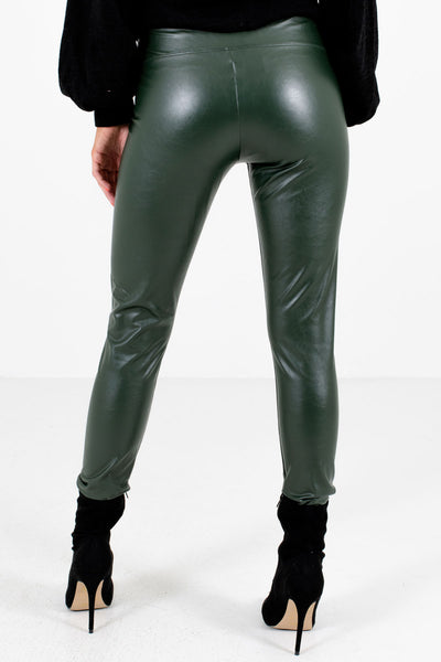 Women's Olive Green Fully Lined Boutique Leggings