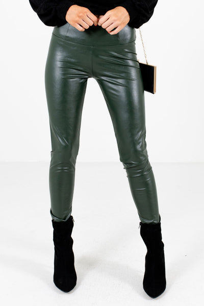 Olive Green Faux Leather Material Boutique Leggings for Women