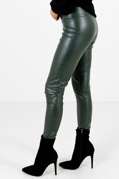 Olive Green Semi-Stretchy Boutique Leggings for Women