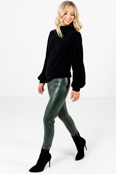 Women's Olive Green High-Quality Boutique Leggings