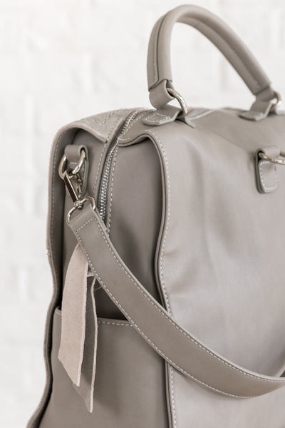 City Chic Gray Genuine Leather Convertible Shoulder Bag