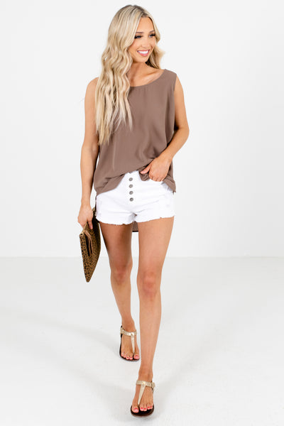 Women's Brown Layering Boutique Tank Tops