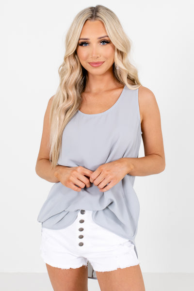 Gray Tank Style Boutique Tops for Women
