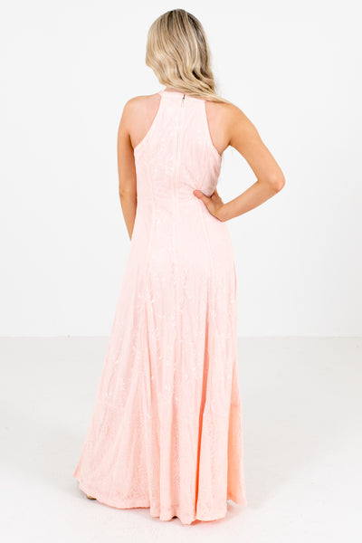 Women's Pink Lace Overlay Boutique Maxi Dress