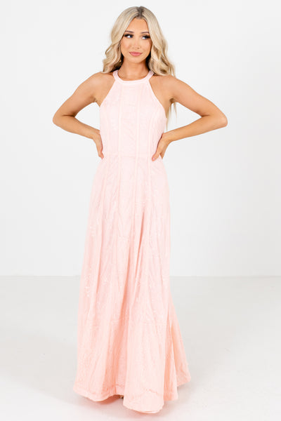 Peach Pink Halter Style Neckline Boutique  Maxi Dresses for Women