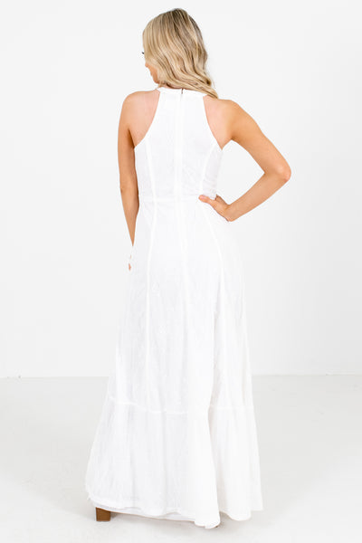 Women's White Zipper Back Boutique Maxi Dress