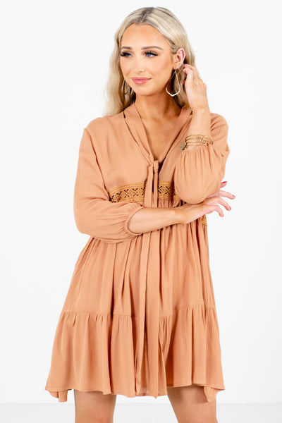 Women's Orange Long Sleeve Boutique Mini Dress