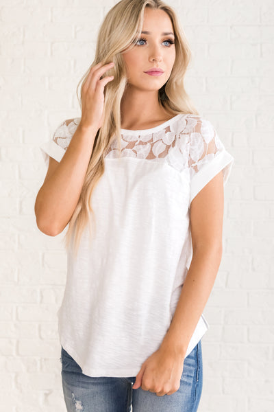 e1afd685f93ec White Cute Tops for Women. Classic Babe White Lace Top
