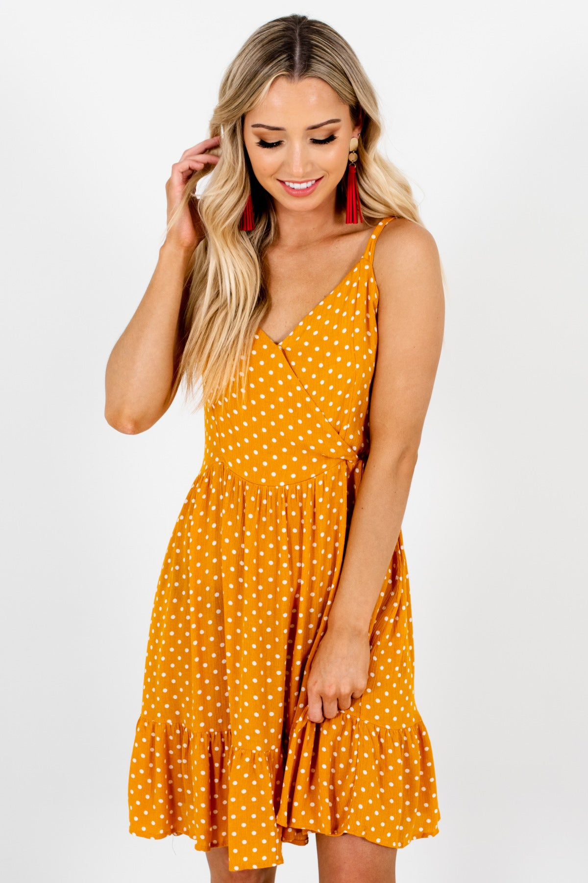 Mustard Orange Polka Dot Mini Dresses Affordable Online Boutique