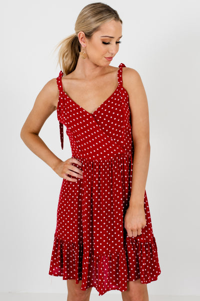 Red White Polka Dot Print Mini Dresses Affordable Online Boutique