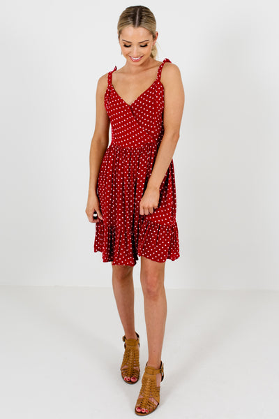 Red White Polka Dot Print Cute Boutique Mini Dresses