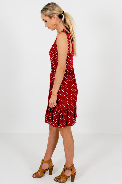 Red Polka Dot Smock Mini Dresses Affordable Online Boutique