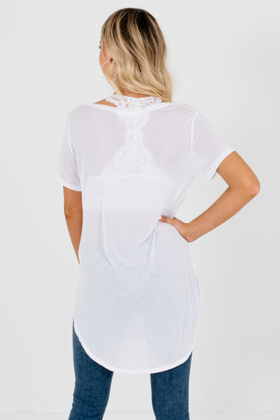 Women's White High-Low Hem Boutique Tee