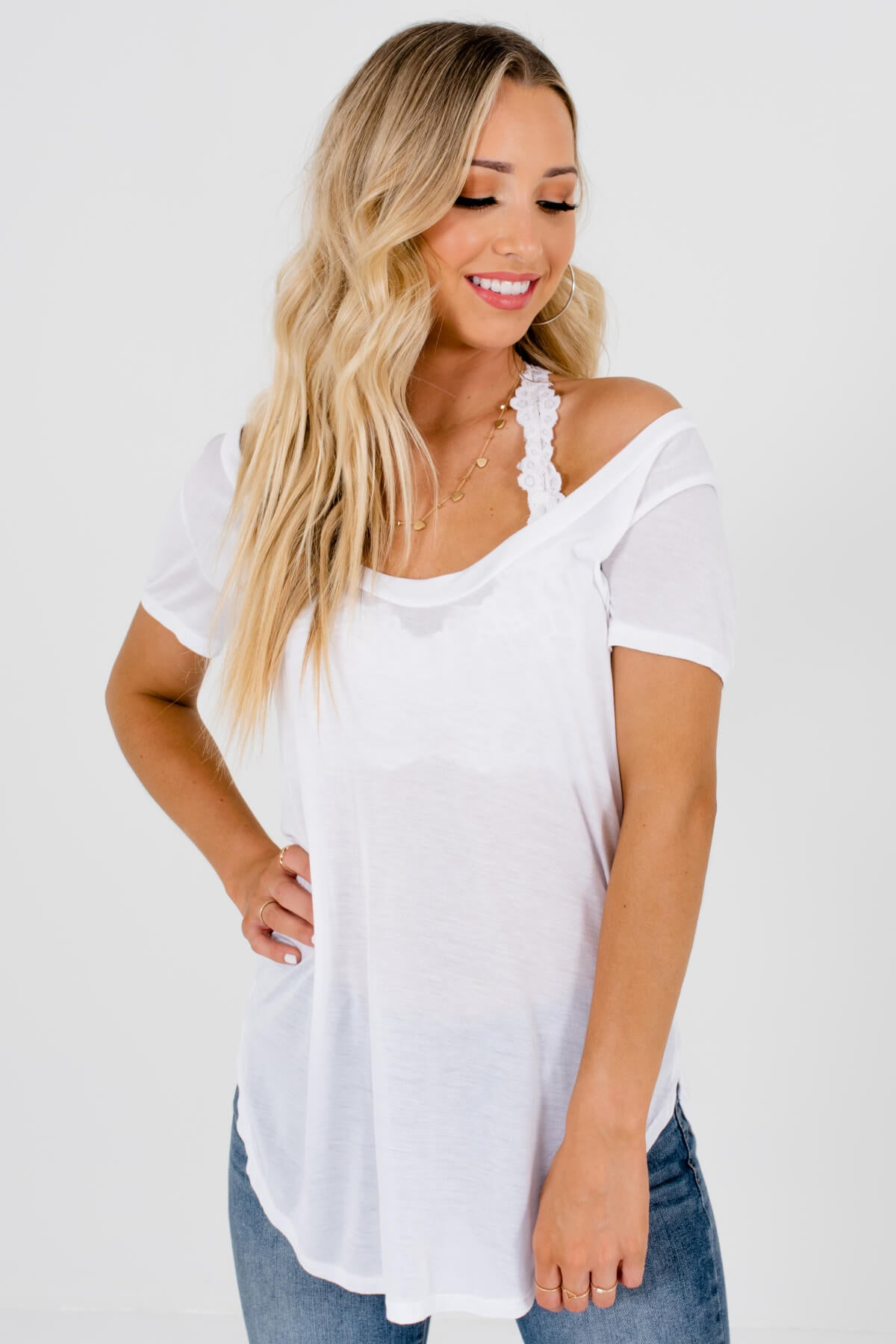 Semi-Sheer White Boutique T-Shirts for Women