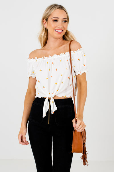 White Apple Orange Fruit Print Lettuce Off Shoulder Tops