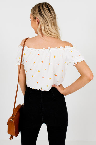 White Fruit Print Off Shoulder Lettuce Edge Hem Front Knot Tops