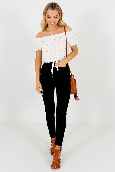 White Apple Orange Fruit Print Off Shoulder Tops Boutique