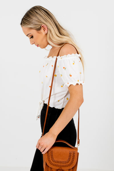 White Fruit Print Lettuce Edge Hem Off Shoulder Tops for Women