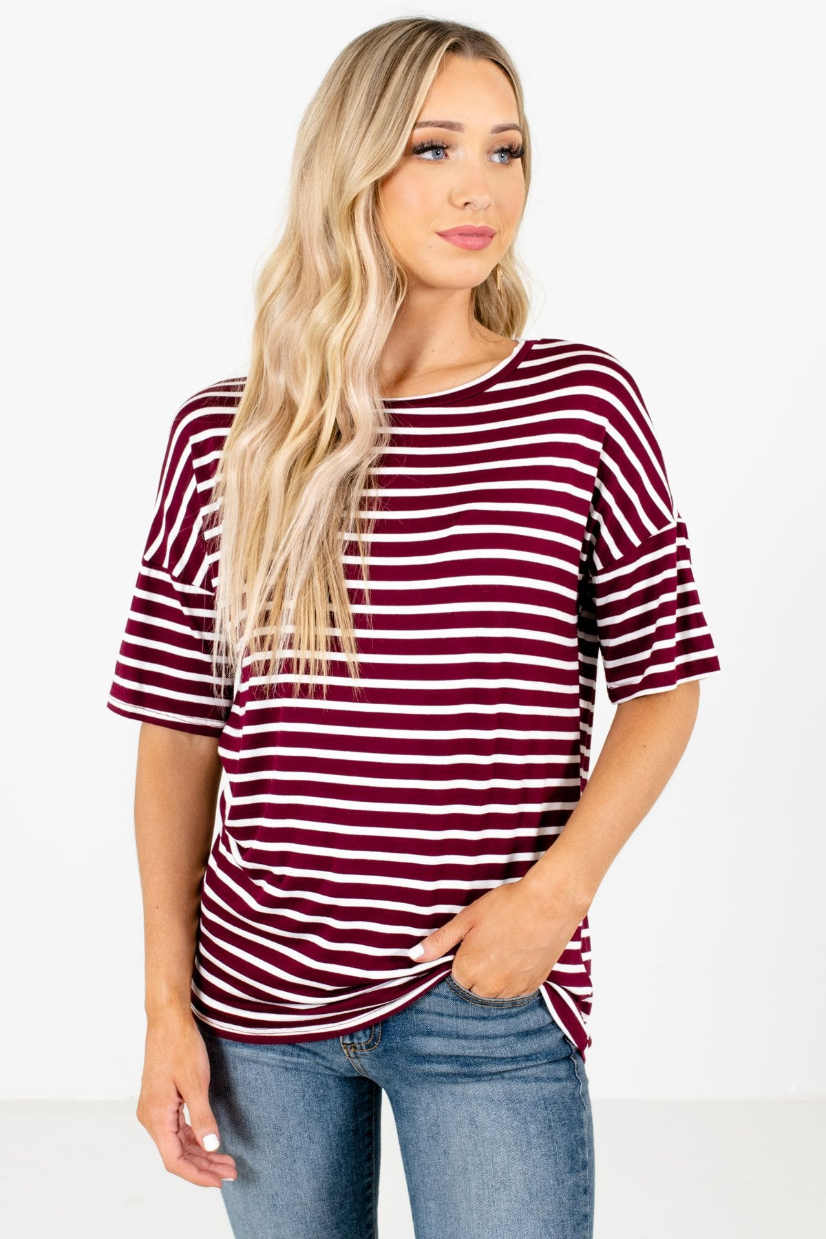 Burgundy and White Striped Boutique Tops for Women