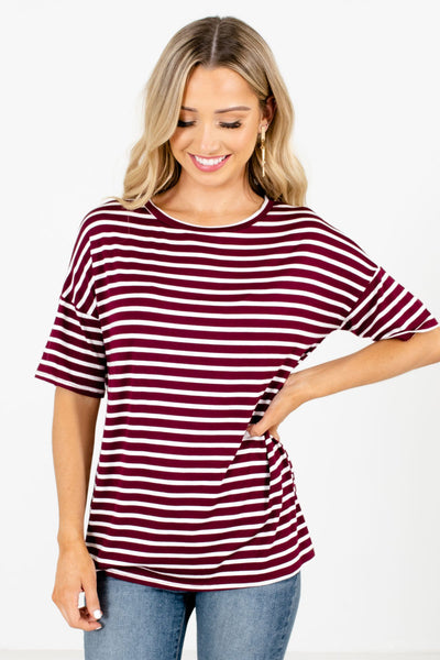 Women's Burgundy Casual Everyday Boutique Tops