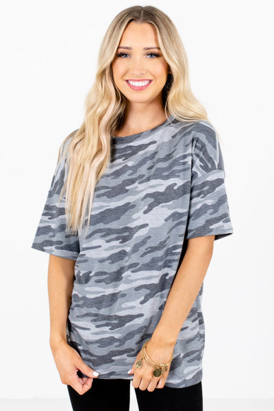 Multicolored Green Camo Print Boutique Tops for Women