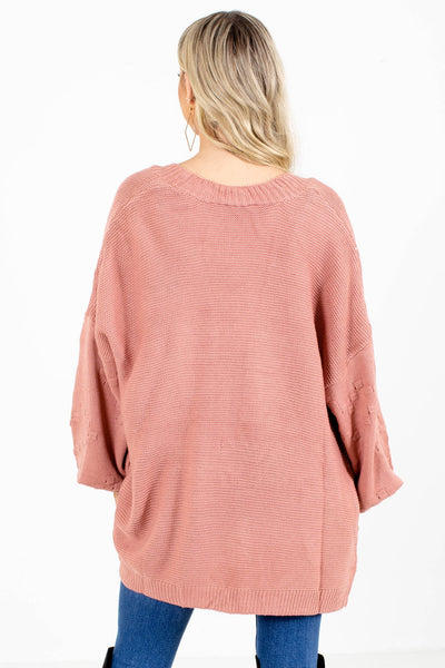 Women's Pink Knit Material Boutique Cardigan