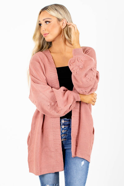 Pink Heart Shaped Detailed Boutique Cardigans for Women
