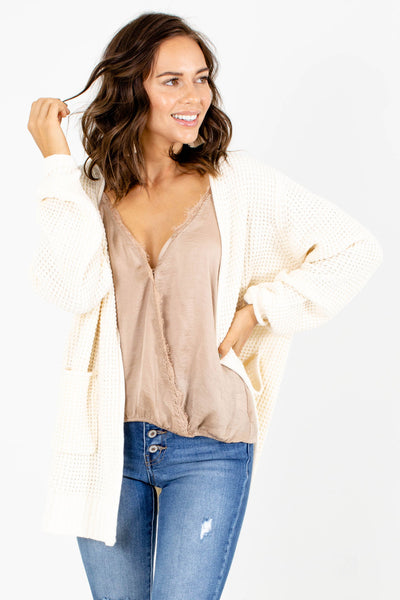 Cream Cute and Comfortable Boutique Cardigans for Women