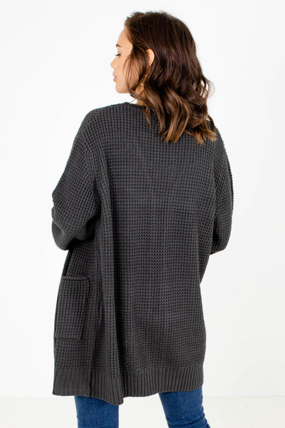 Women's Gray Layering Boutique Cardigan