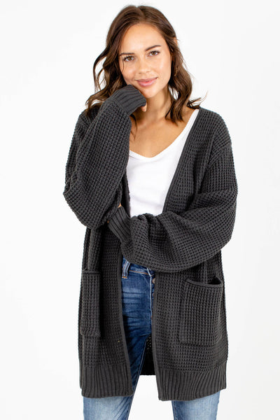 Gray Long Sleeve Boutique Cardigans for Women