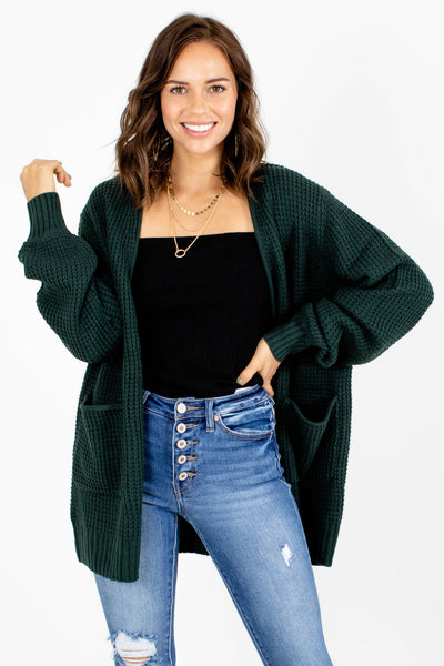 Green High-Quality Knit Material Boutique Cardigans for Women