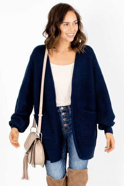 Navy Blue Warm and Cozy Boutique Cardigans for Women