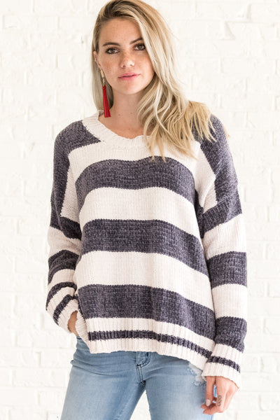 Charcoal Gray Striped Soft Knit Sweater