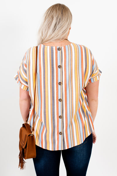 Women's Orange Multi Striped Button-Up Back Plus Size Boutique Tops