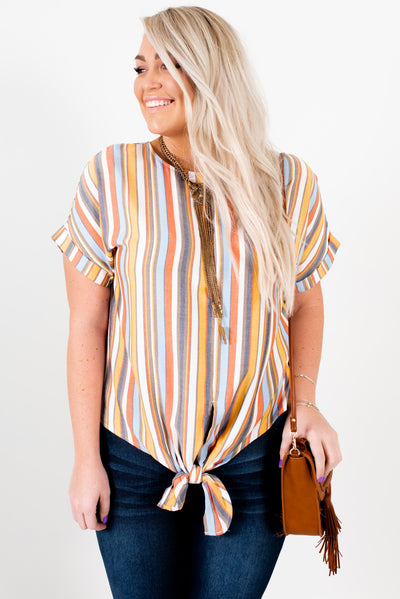 Women's Orange Multi Striped Lightweight High-Quality Plus Size Boutique Top