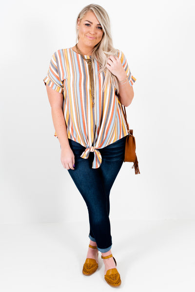 Orange Multi Striped Casual and Comfortable Plus Size Boutique Tops for Women