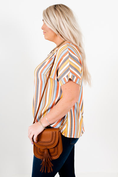 Orange Multi Striped Faux Cuffed Sleeve Plus Size Boutique Tops for Women