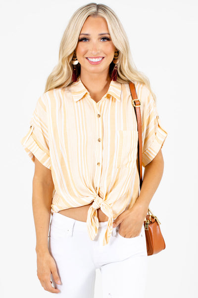 Yellow and White Striped Boutique Shirts for Women