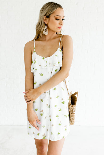 Women's White Button-Up Front Boutique Dresses for Women