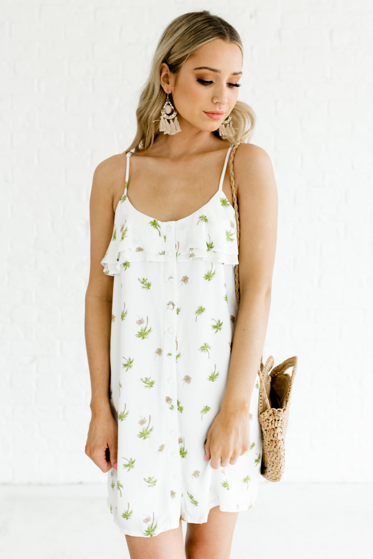 White Green and Brown Palm Tree Print Boutique Dresses for Women