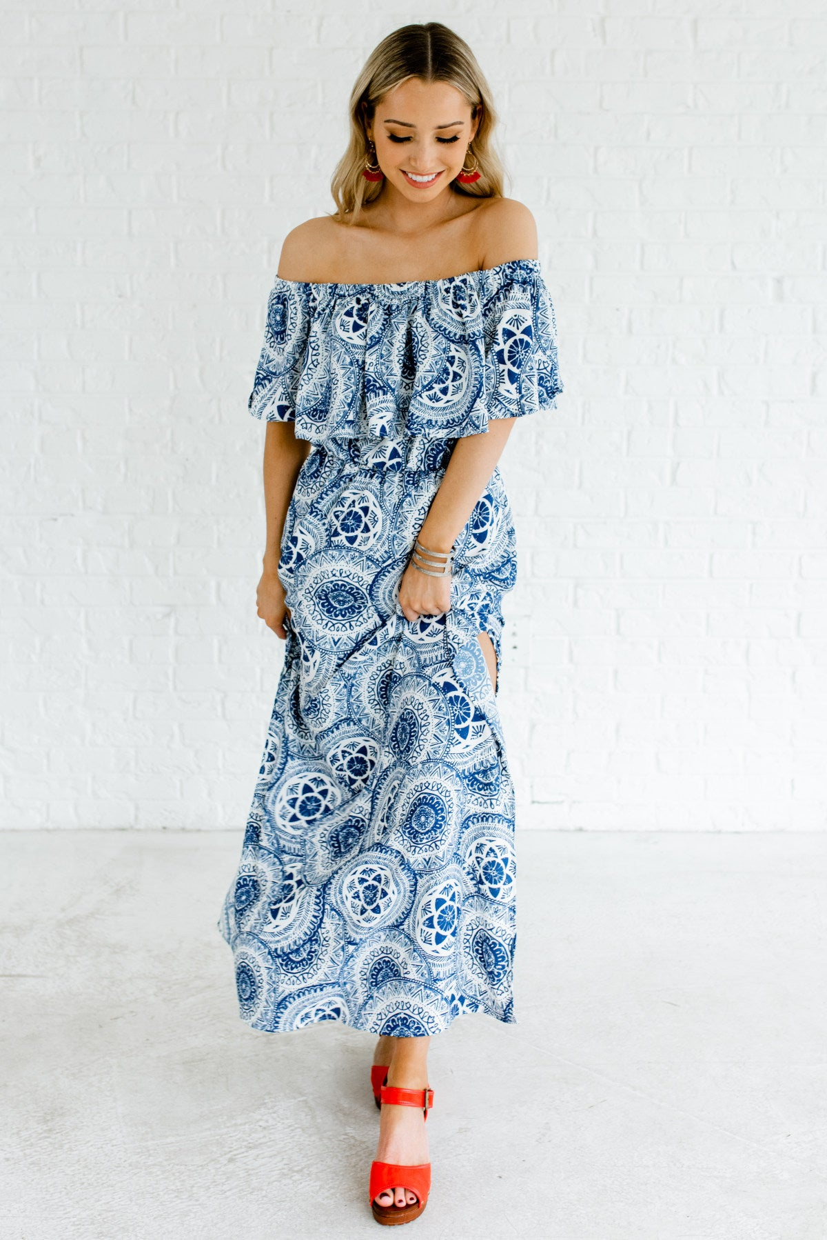 1a57253cf3 ... Off Shoulder Maxi Dress. Blue and White Patterned Maxi Length Boutique  Dresses for Women