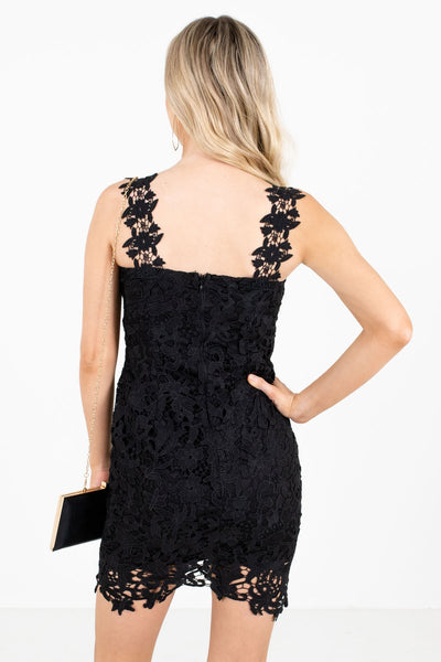 Black Floral Crochet Overlay Mini Dresses for Parties