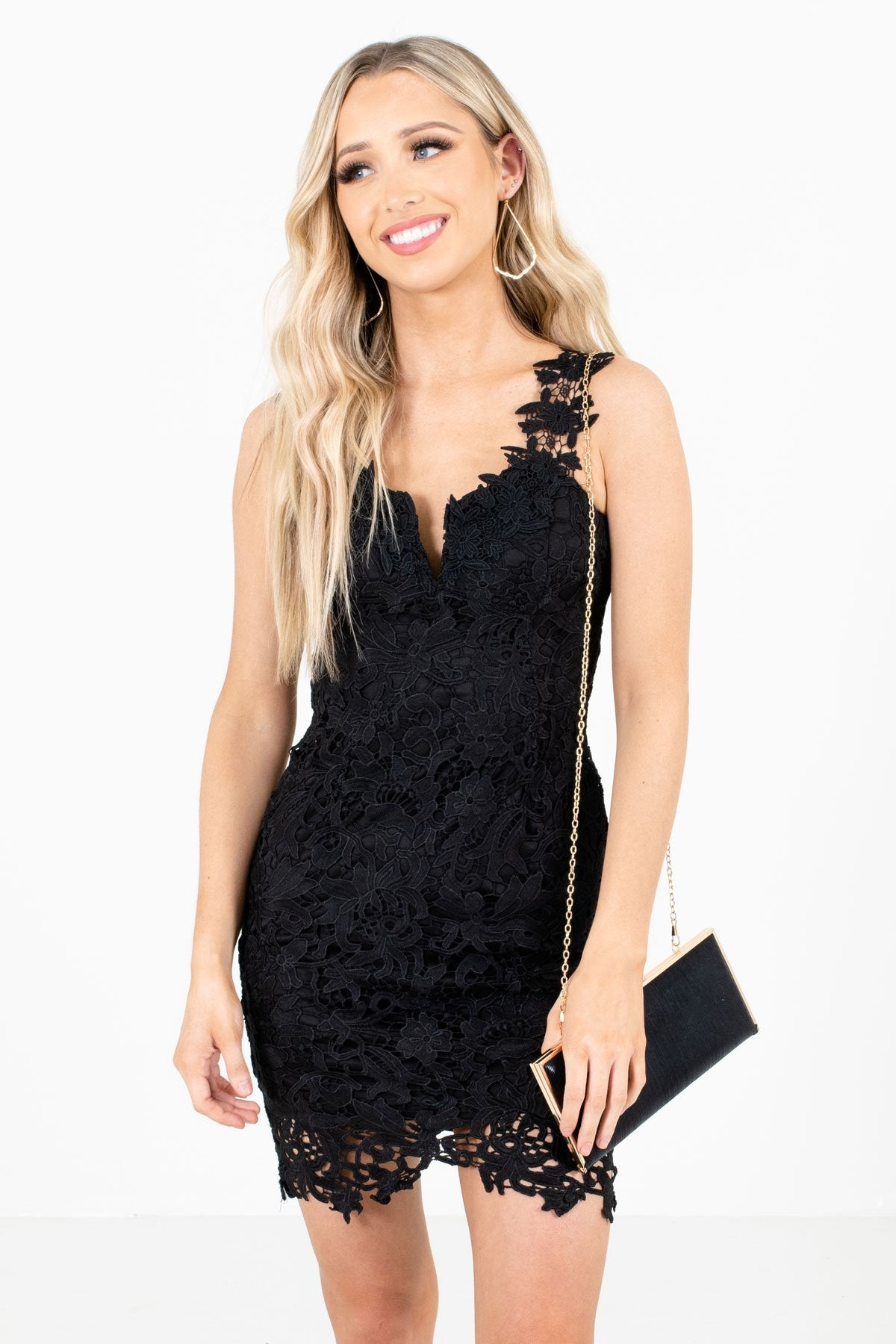 Black Crochet Floral Lace Overlay Mini Dresses Affordable Online Boutique