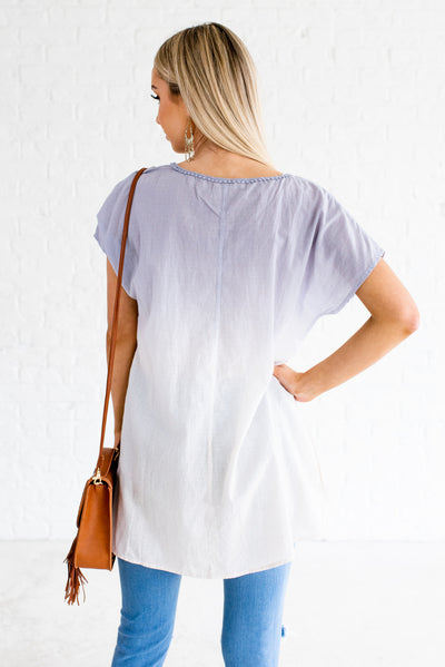 Women's Blue and White Longer Fit Boutique Tops