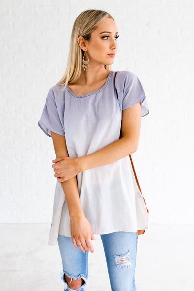 Blue and White Ombre Color Boutique Tops for Women