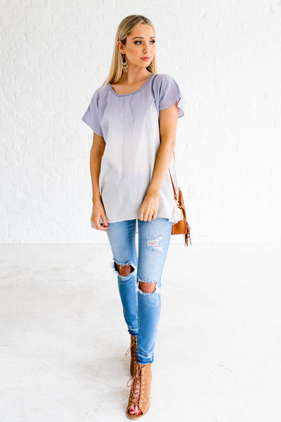 Blue and White Cute Tie Knot Boutique Tops for Women