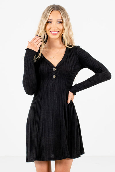 Black Button-Up Neckline Boutique Mini Dresses for Women