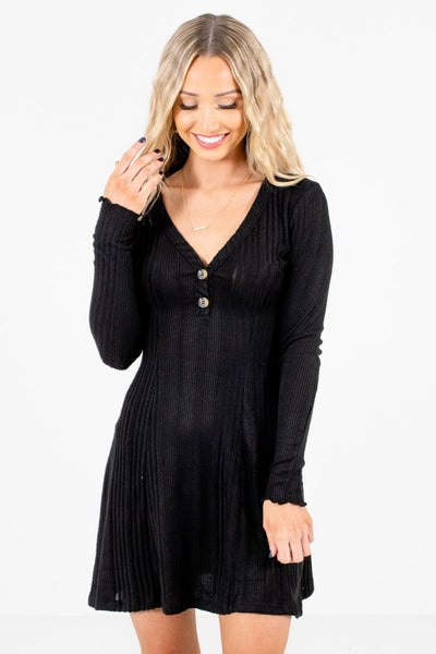 Women's Black Warm and Cozy Boutique Mini Dress