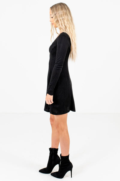 Black High-Quality Ribbed Material Boutique Dresses for Women